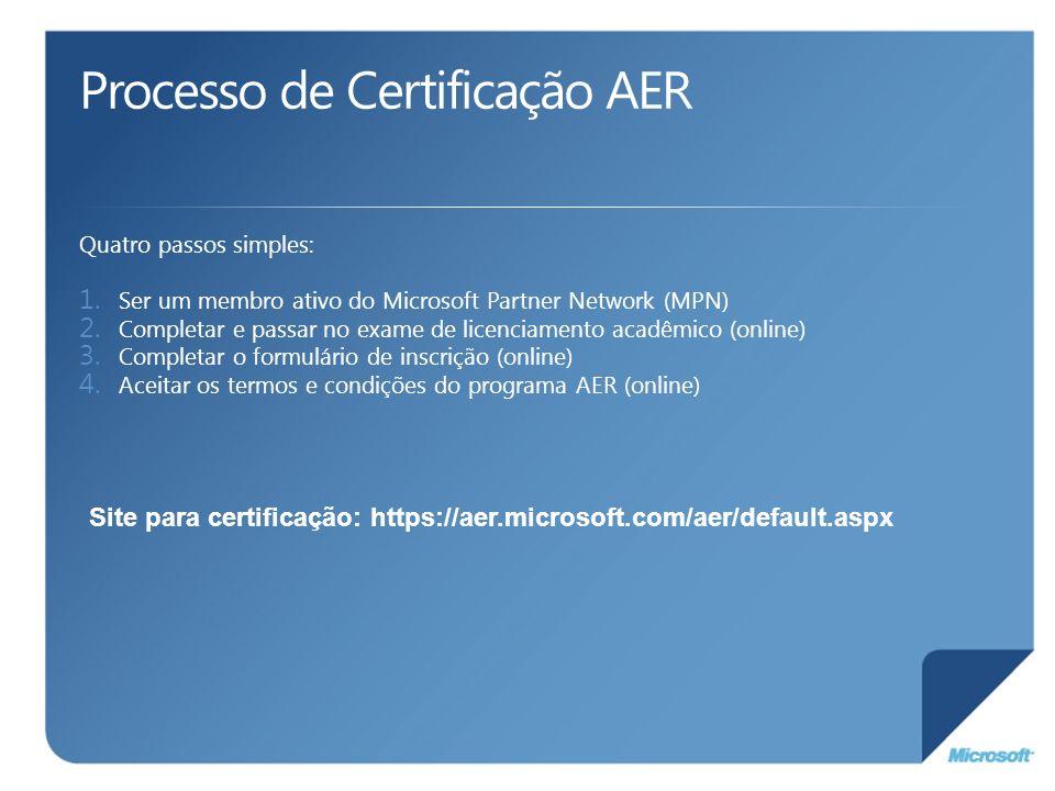 Processo de Certificação AER Quatro passos simples: 1. Ser um membro ativo do Microsoft Partner Network (MPN) 2. Completar e passar no exame de licenc