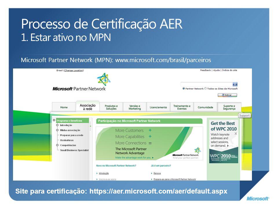 Processo de Certificação AER 1. Estar ativo no MPN Microsoft Partner Network (MPN): www.microsoft.com/brasil/parceiros Site para certificação: https:/