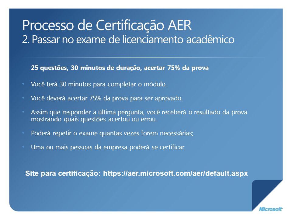 Processo de Certificação AER 2. Passar no exame de licenciamento acadêmico 25 questões, 30 minutos de duração, acertar 75% da prova Você terá 30 minut