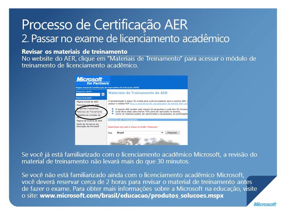 Processo de Certificação AER 2. Passar no exame de licenciamento acadêmico Revisar os materiais de treinamento No website do AER, clique em Materiais