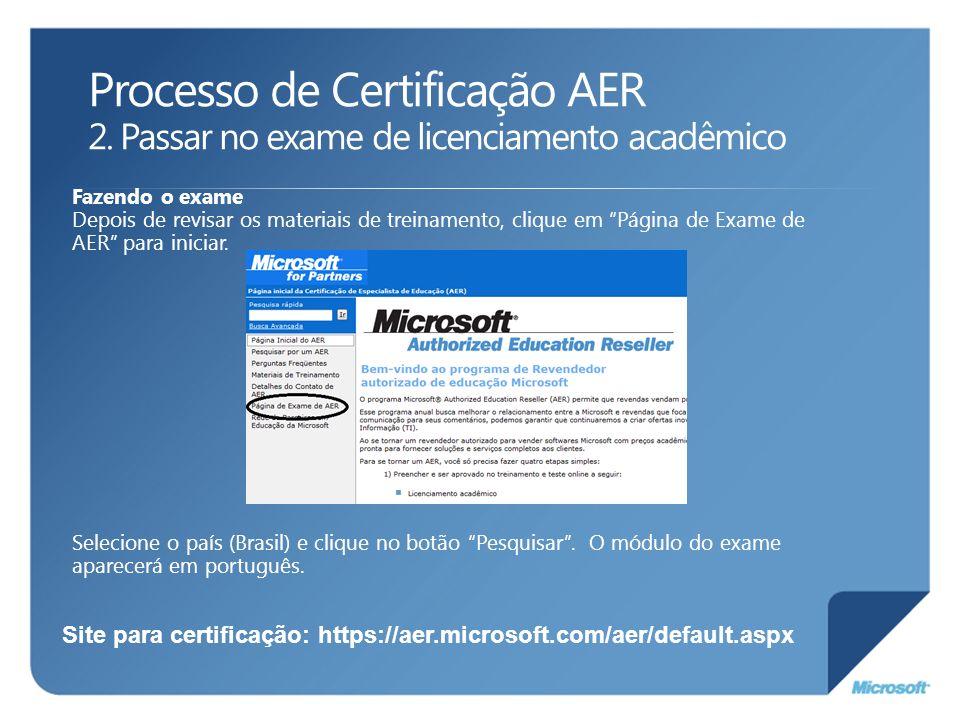 Fazendo o exame Depois de revisar os materiais de treinamento, clique em Página de Exame de AER para iniciar. Selecione o país (Brasil) e clique no bo