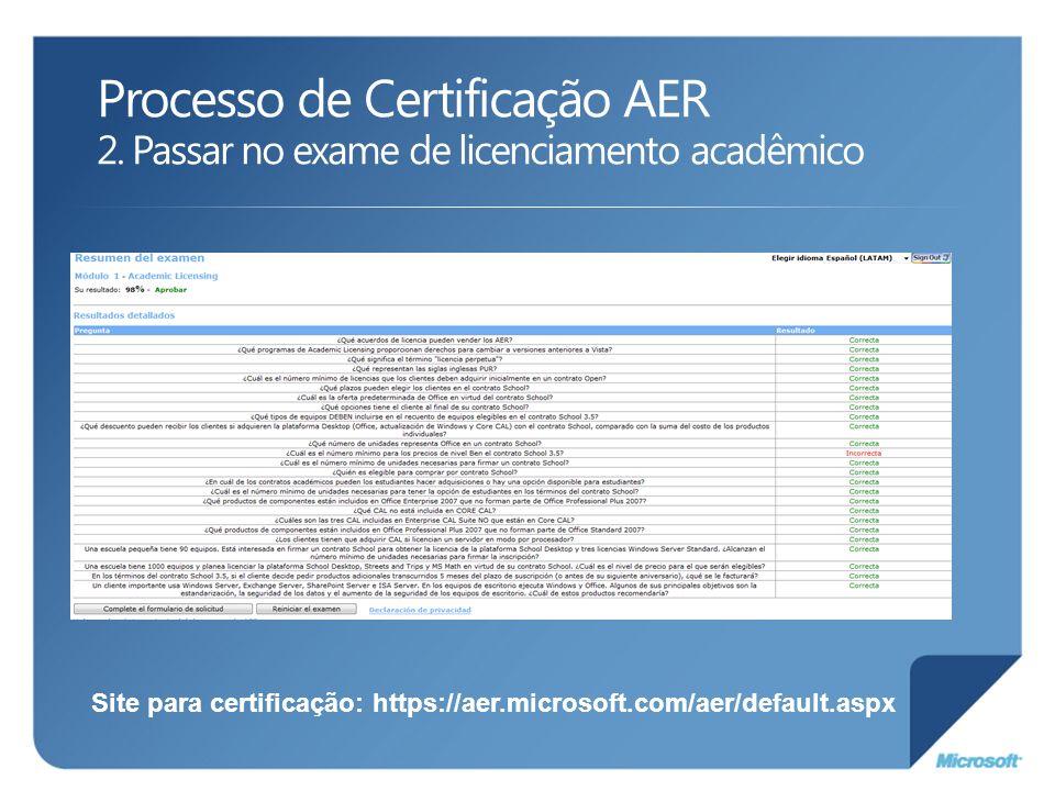 Processo de Certificação AER 2. Passar no exame de licenciamento acadêmico Site para certificação: https://aer.microsoft.com/aer/default.aspx