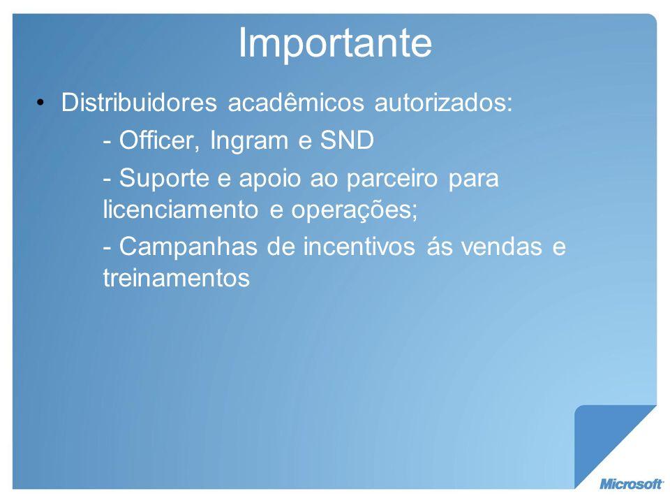 Importante Distribuidores acadêmicos autorizados: - Officer, Ingram e SND - Suporte e apoio ao parceiro para licenciamento e operações; - Campanhas de