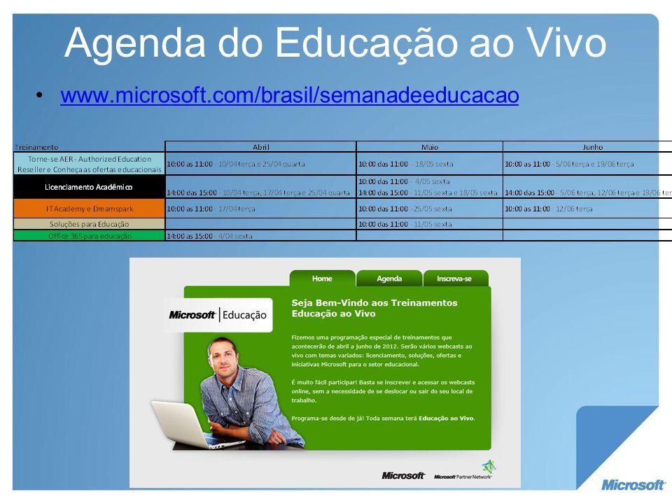 Agenda do Educação ao Vivo www.microsoft.com/brasil/semanadeeducacao