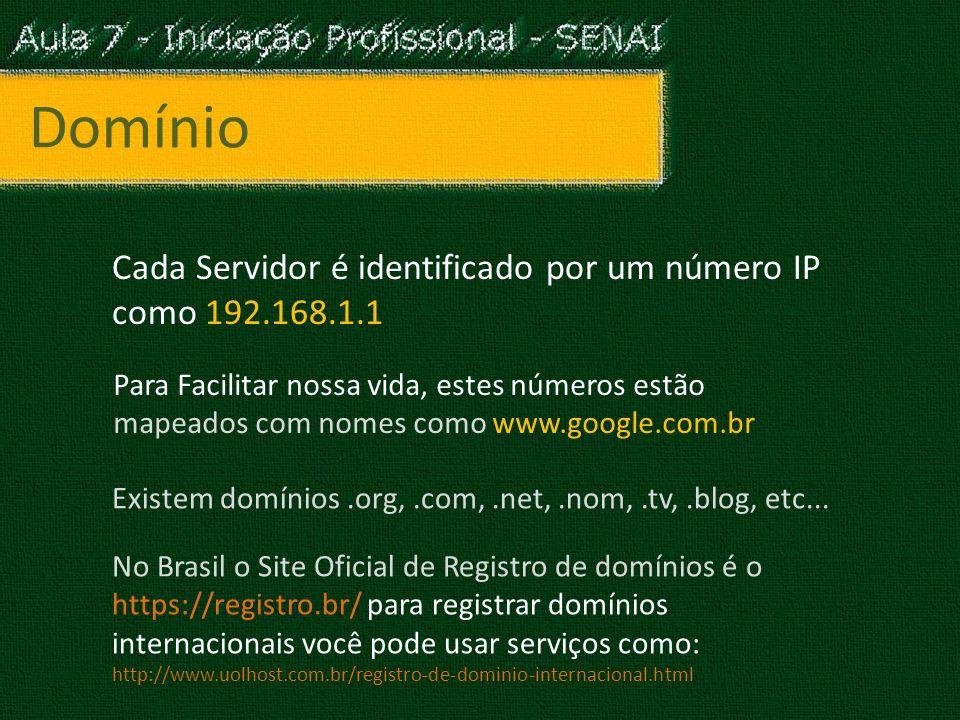 Domínio Cada Servidor é identificado por um número IP como 192.168.1.1 Para Facilitar nossa vida, estes números estão mapeados com nomes como www.google.com.br Existem domínios.org,.com,.net,.nom,.tv,.blog, etc...