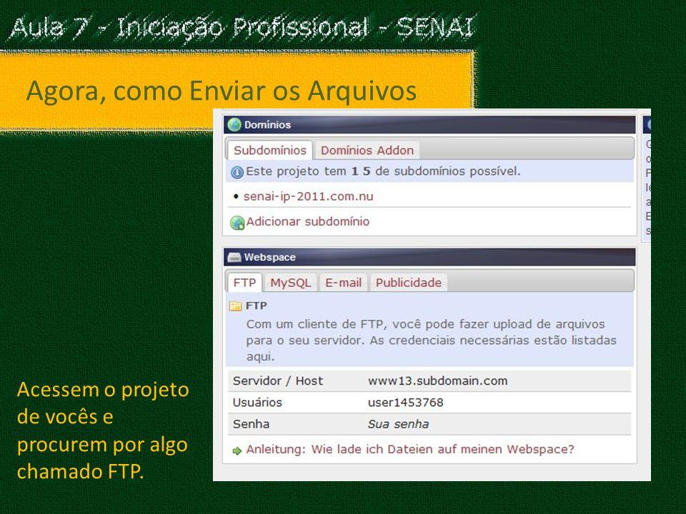 Agora, como Enviar os Arquivos Acessem o projeto de vocês e procurem por algo chamado FTP.
