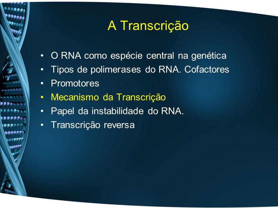 A Transcrição O RNA como espécie central na genética Tipos de polimerases do RNA. Cofactores Promotores Mecanismo da Transcrição Papel da instabilidad