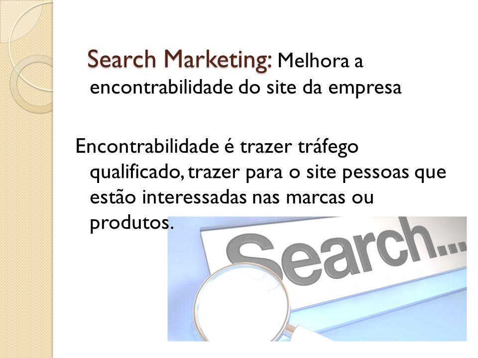 Search Marketing: Search Marketing: Melhora a encontrabilidade do site da empresa Encontrabilidade é trazer tráfego qualificado, trazer para o site pe