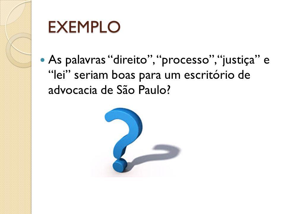 EXEMPLO As palavras direito, processo, justiça e lei seriam boas para um escritório de advocacia de São Paulo?