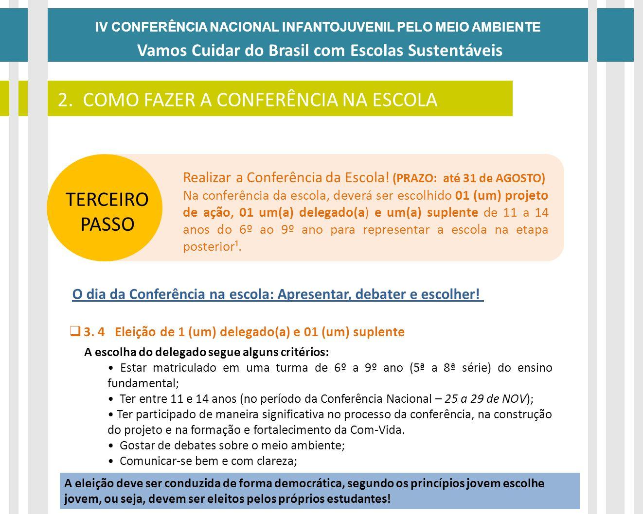 IV CONFERÊNCIA NACIONAL INFANTOJUVENIL PELO MEIO AMBIENTE Vamos Cuidar do Brasil com Escolas Sustentáveis DATAS 2. COMO FAZER A CONFERÊNCIA NA ESCOLA