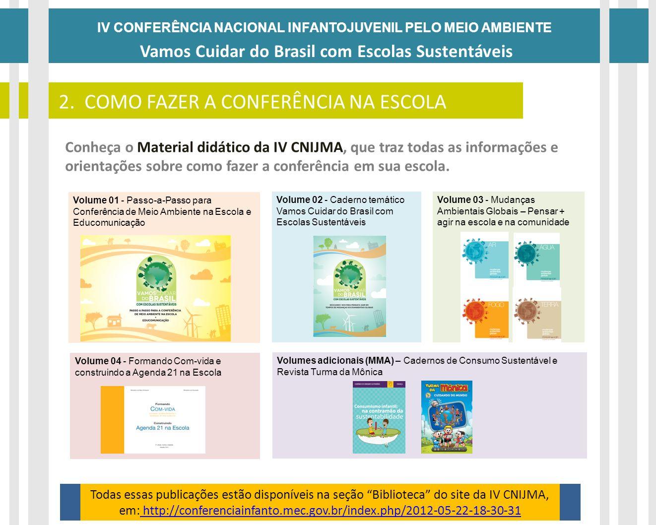 Volume 01 - Passo-a-Passo para Conferência de Meio Ambiente na Escola e Educomunicação Volumes adicionais (MMA) – Cadernos de Consumo Sustentável e Re