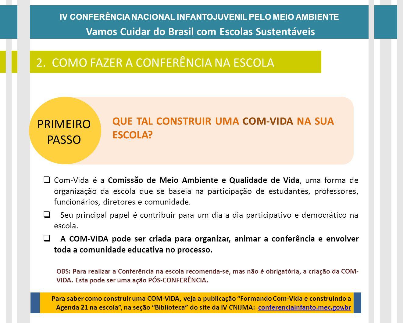 IV CONFERÊNCIA NACIONAL INFANTOJUVENIL PELO MEIO AMBIENTE Vamos Cuidar do Brasil com Escolas Sustentáveis COMO FAZER A CONFERÊNCIA NA ESCOLA? Com-Vida