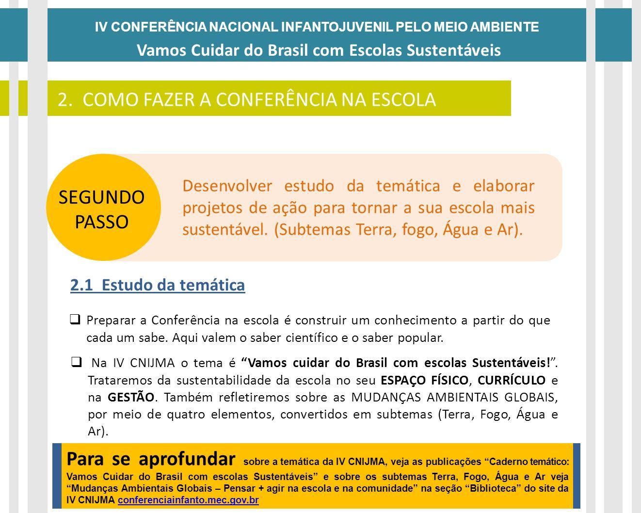 IV CONFERÊNCIA NACIONAL INFANTOJUVENIL PELO MEIO AMBIENTE Vamos Cuidar do Brasil com Escolas Sustentáveis DATAS SEGUNDO PASSO Preparar a Conferência n