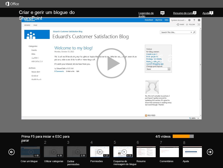 5 7 61234 Resumo do curso 8 Ajuda Criar e gerir um blogue do SharePoint Legendas de áudio Prima F5 para iniciar e ESC para parar ResumoComentários Ajuda 5/5 vídeos 1:18 Criar um blogueUtilizar categorias Definir permissões Permissões 0:392:201:27 Esquema de mensagem do blogue 0:35 Sem uma personalização especial, tem a opção de apresentar mensagens em três formatos diferentes.
