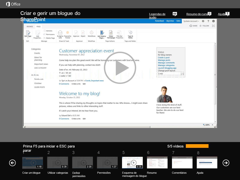 Consulte também Mais cursos de formação Office Compatibility Pack Um blogue do SharePoint Crie um blogue do SharePoint para partilhar rapidamente ideias e informações de modo informal.