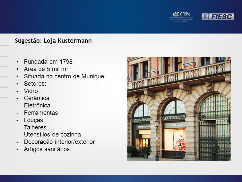 Sugestão: Loja Kustermann Fundada em 1798 Área de 5 mil m² Situada no centro de Munique Setores: -Vidro -Cerâmica -Eletrônica -Ferramentas -Louças -Talheres -Utensílios de cozinha -Decoração interior/exterior -Artigos sanitários