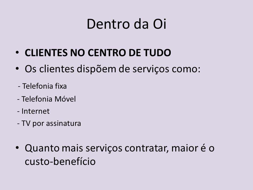 Dentro da Oi CLIENTES NO CENTRO DE TUDO Os clientes dispõem de serviços como: - Telefonia fixa - Telefonia Móvel - Internet - TV por assinatura Quanto