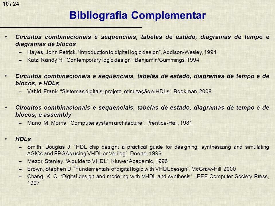 10 / 24 Bibliografia Complementar Circuitos combinacionais e sequenciais, tabelas de estado, diagramas de tempo e diagramas de blocos –Hayes, John Pat