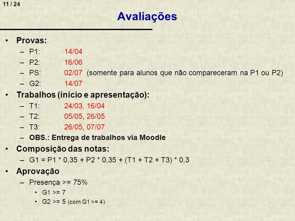 11 / 24 Avaliações Provas: –P1:14/04 –P2:16/06 –PS:02/07 (somente para alunos que não compareceram na P1 ou P2) –G2:14/07 Trabalhos (início e apresent