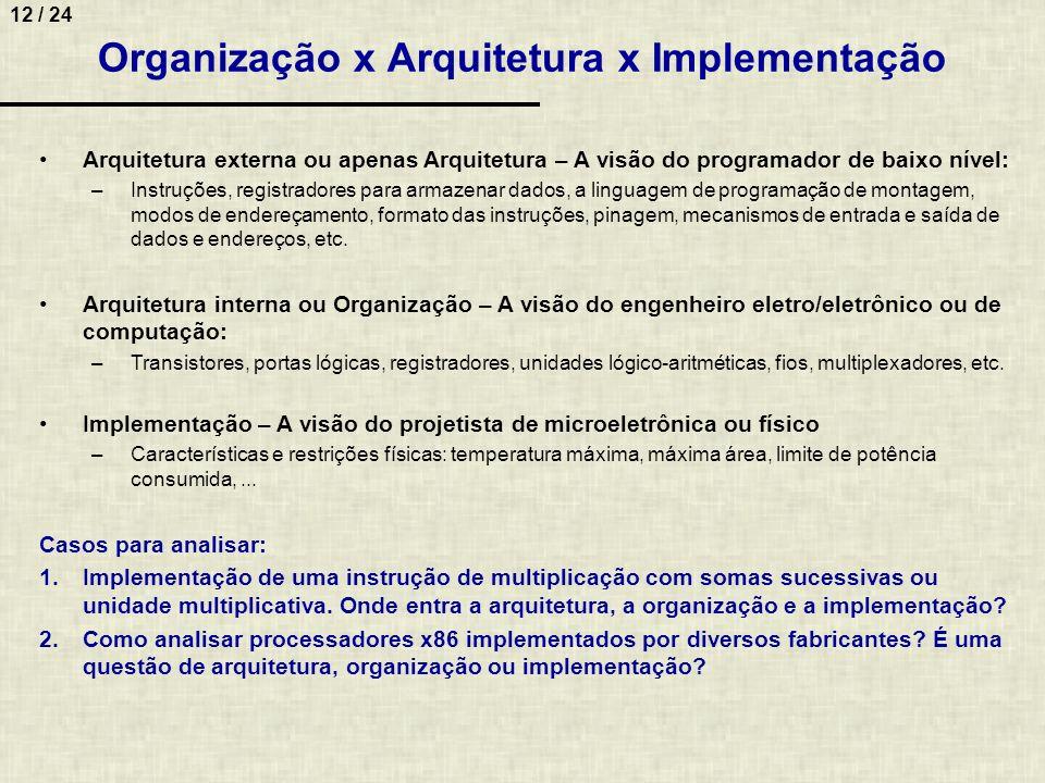 12 / 24 Organização x Arquitetura x Implementação Arquitetura externa ou apenas Arquitetura – A visão do programador de baixo nível: –Instruções, regi