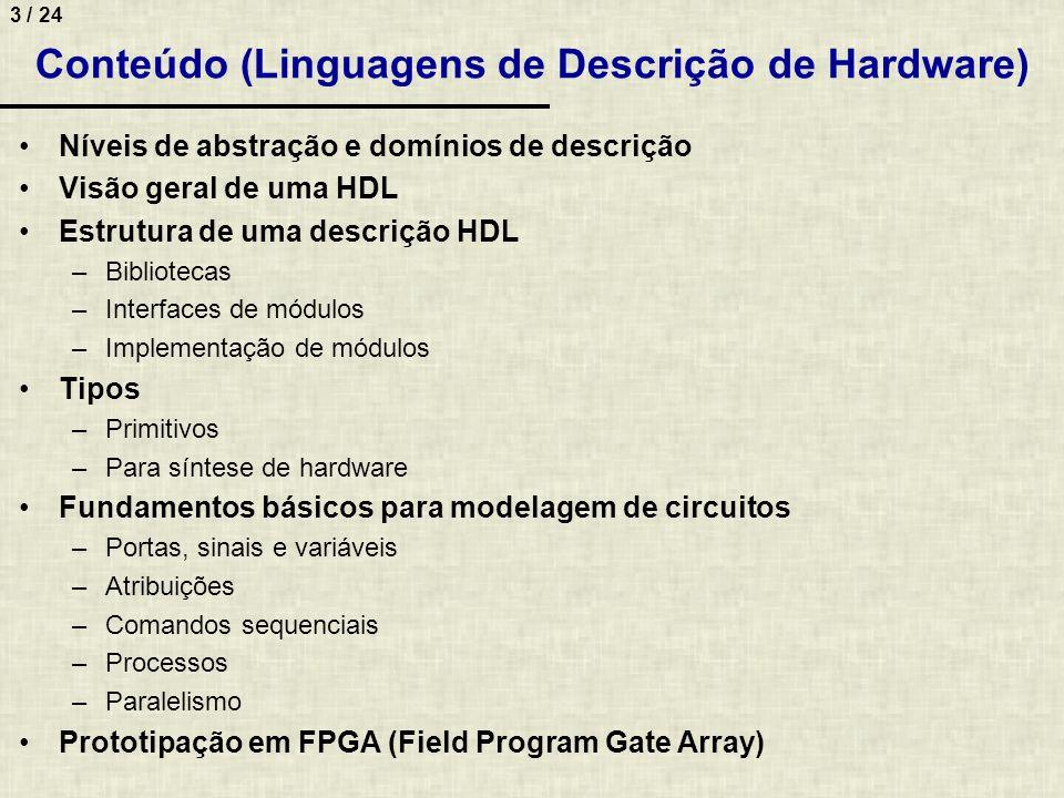 3 / 24 Conteúdo (Linguagens de Descrição de Hardware) Níveis de abstração e domínios de descrição Visão geral de uma HDL Estrutura de uma descrição HD