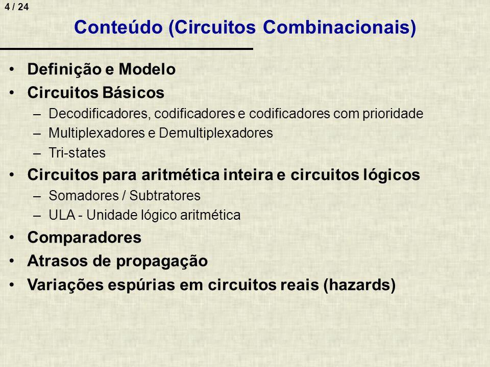 4 / 24 Conteúdo (Circuitos Combinacionais) Definição e Modelo Circuitos Básicos –Decodificadores, codificadores e codificadores com prioridade –Multip