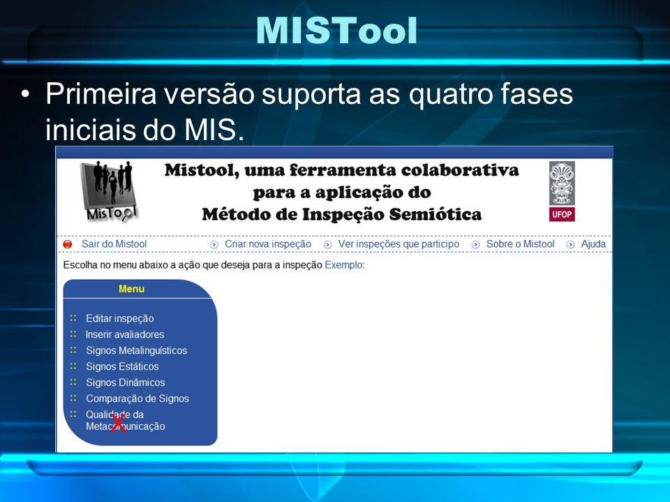 MISTool Primeira versão suporta as quatro fases iniciais do MIS. X