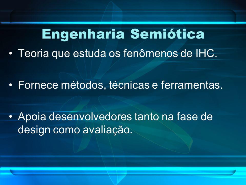 Engenharia Semiótica Teoria que estuda os fenômenos de IHC. Fornece métodos, técnicas e ferramentas. Apoia desenvolvedores tanto na fase de design com