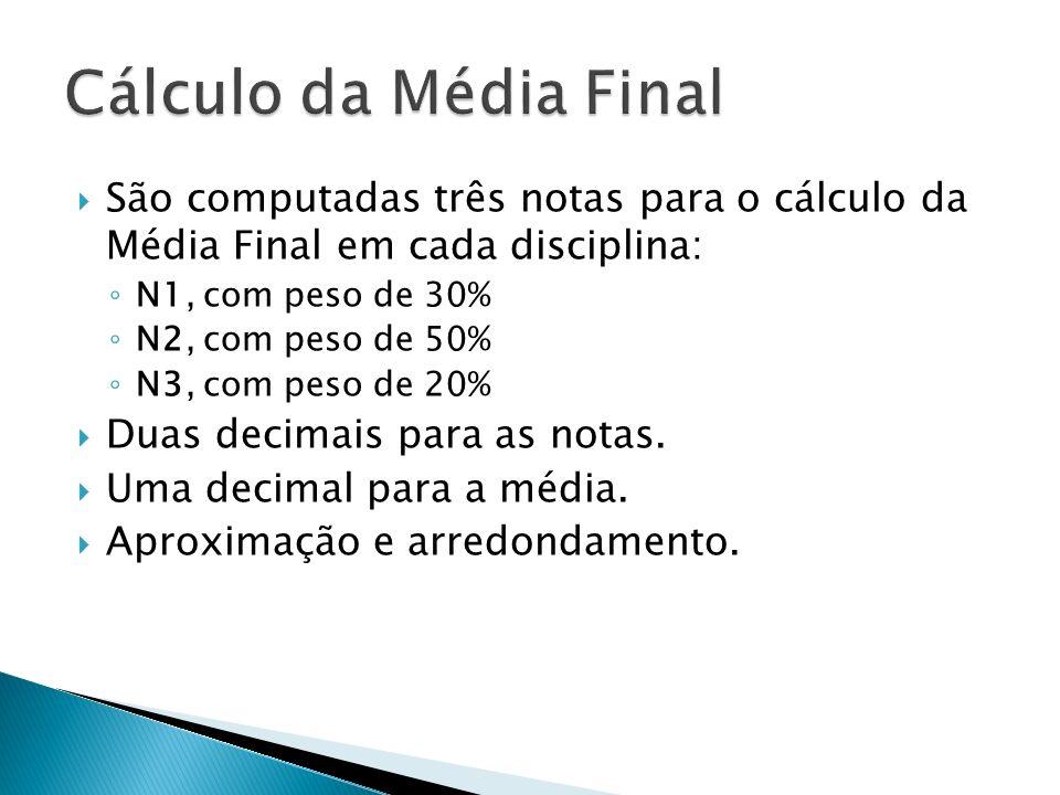 São computadas três notas para o cálculo da Média Final em cada disciplina: N1, com peso de 30% N2, com peso de 50% N3, com peso de 20% Duas decimais para as notas.