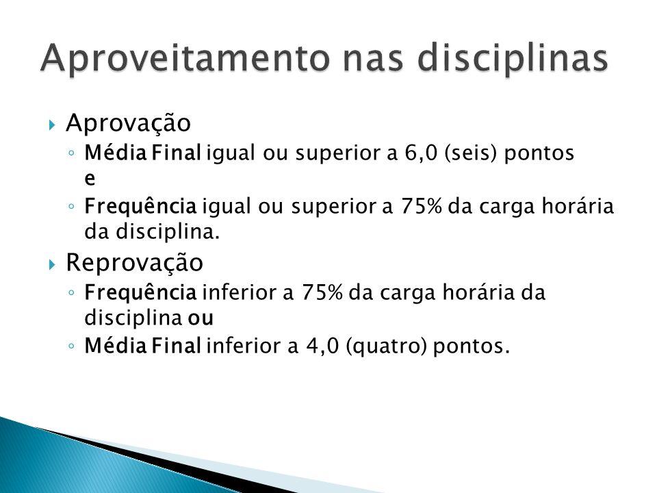 Aprovação Média Final igual ou superior a 6,0 (seis) pontos e Frequência igual ou superior a 75% da carga horária da disciplina. Reprovação Frequência