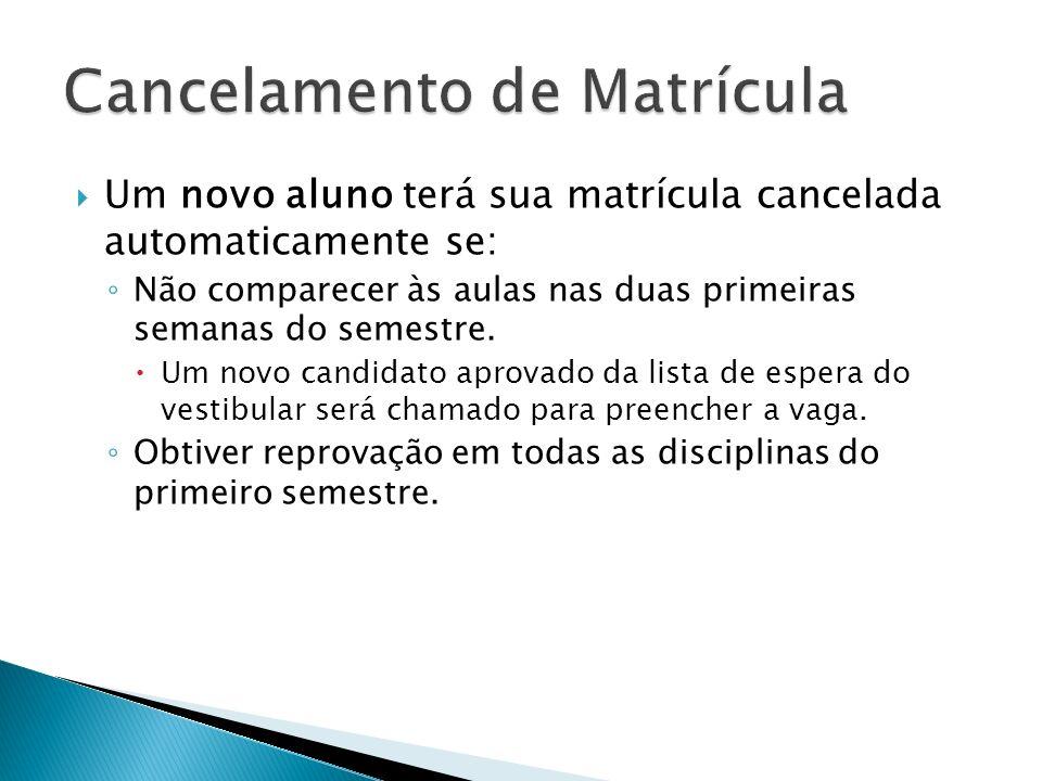 Um novo aluno terá sua matrícula cancelada automaticamente se: Não comparecer às aulas nas duas primeiras semanas do semestre. Um novo candidato aprov