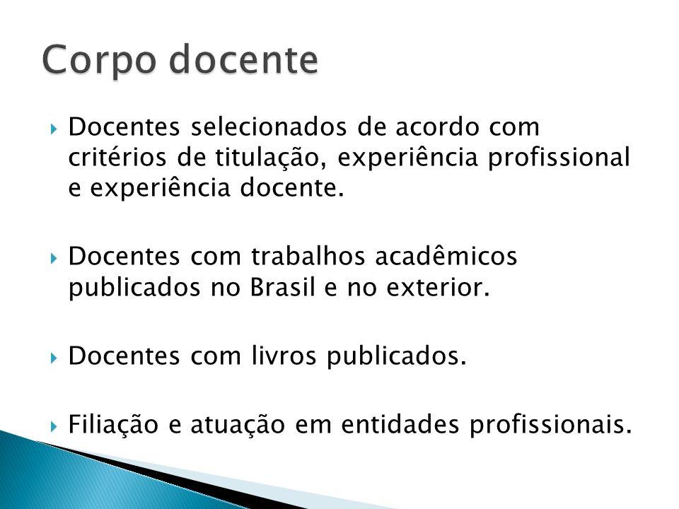 Docentes selecionados de acordo com critérios de titulação, experiência profissional e experiência docente. Docentes com trabalhos acadêmicos publicad