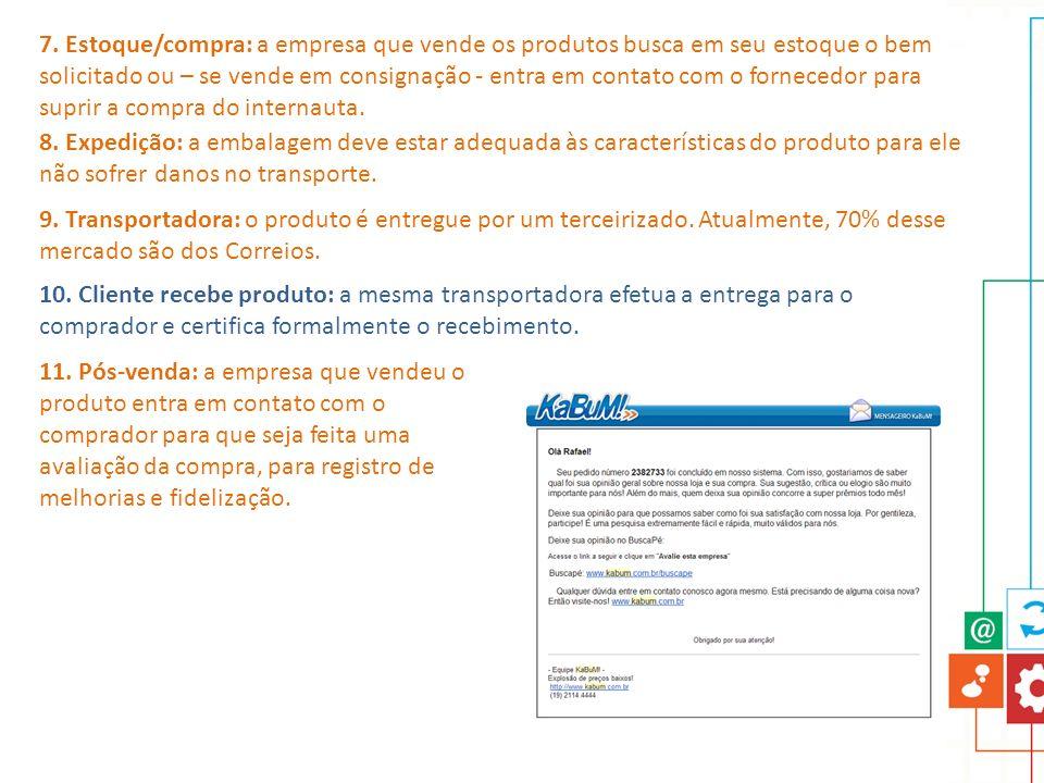 7. Estoque/compra: a empresa que vende os produtos busca em seu estoque o bem solicitado ou – se vende em consignação - entra em contato com o fornece