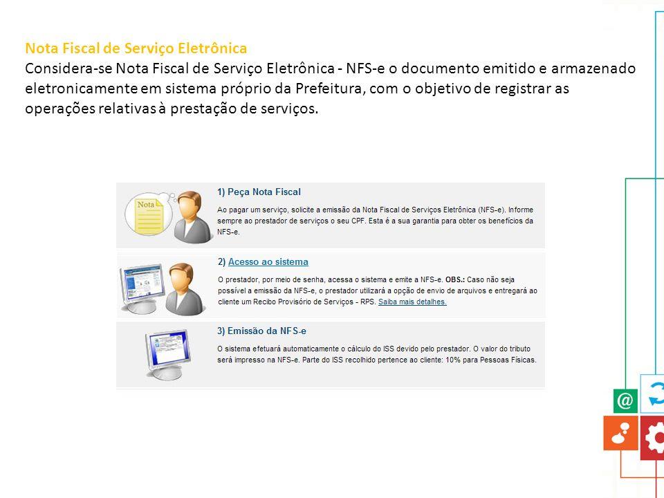 Nota Fiscal de Serviço Eletrônica Considera-se Nota Fiscal de Serviço Eletrônica - NFS-e o documento emitido e armazenado eletronicamente em sistema p