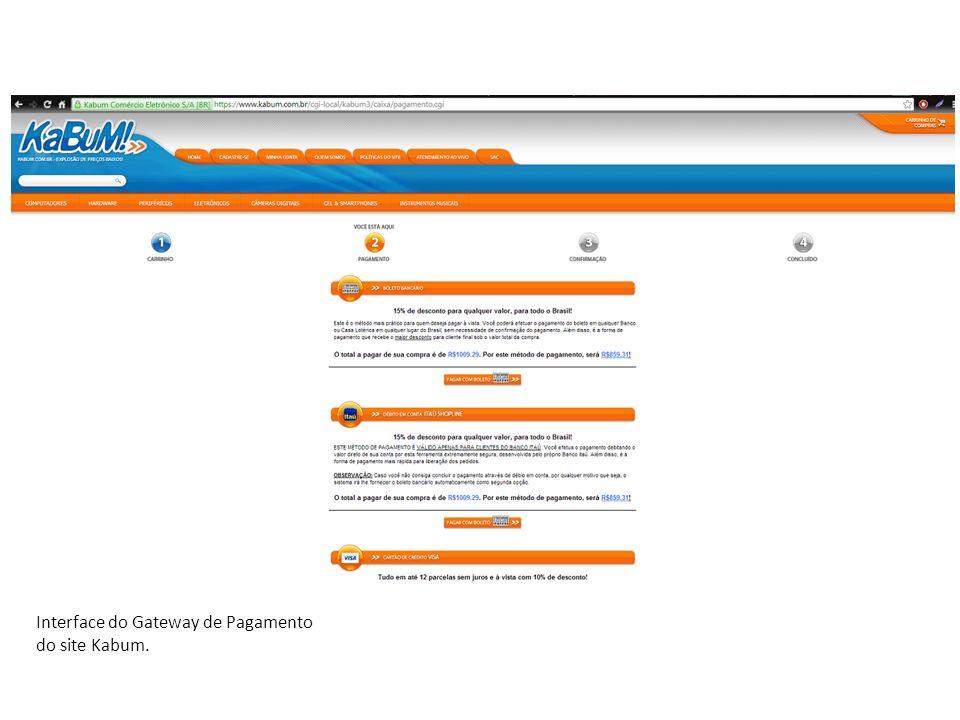 Interface do Gateway de Pagamento do site Kabum.