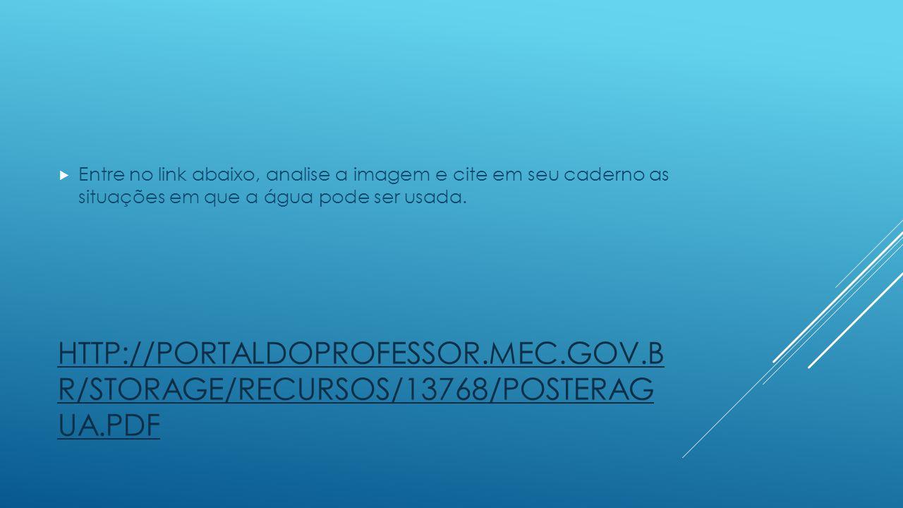 HTTP://PORTALDOPROFESSOR.MEC.GOV.B R/STORAGE/RECURSOS/13768/POSTERAG UA.PDF Entre no link abaixo, analise a imagem e cite em seu caderno as situações