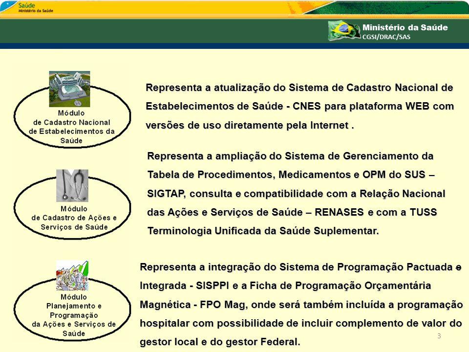 Representa a atualização do Sistema de Cadastro Nacional de Estabelecimentos de Saúde - CNES para plataforma WEB com versões de uso diretamente pela I