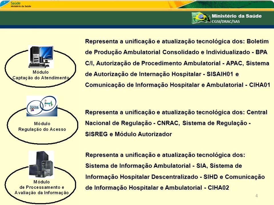 Representa a unificação e atualização tecnológica dos: Sistema de Média e Alta Complexidade - SISMAC e o Sistema de Gerenciamento Financeiro - SISGERF de uso interno do DRAC.