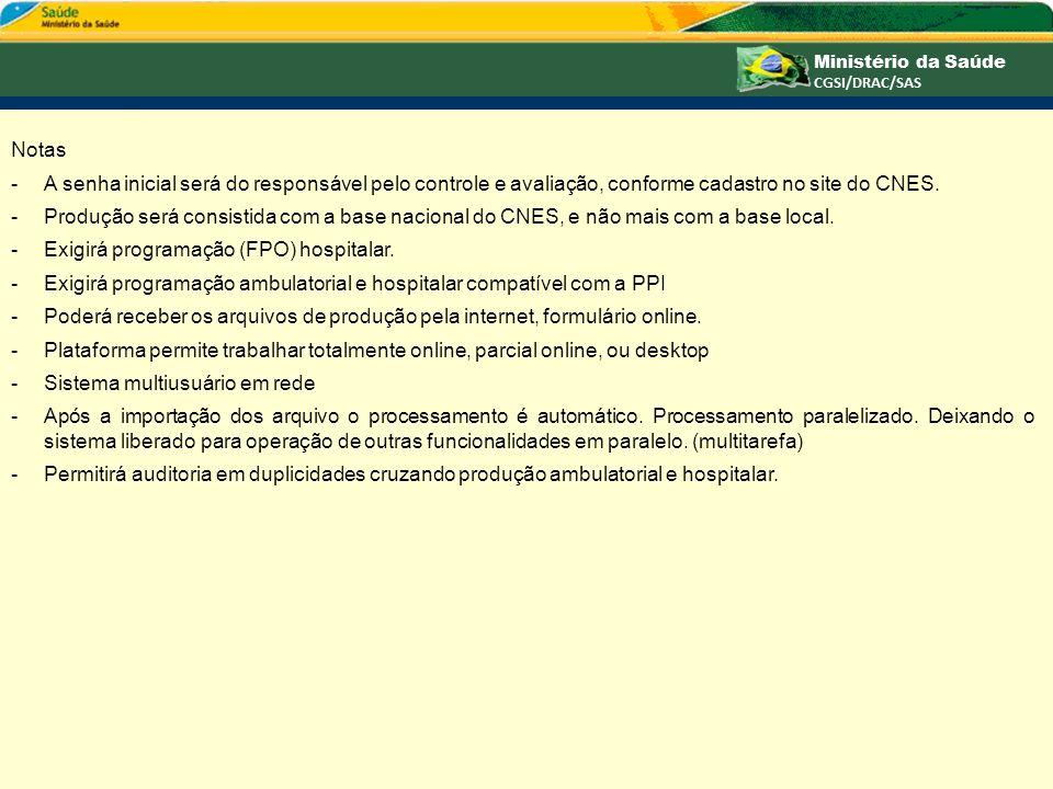 Notas -A senha inicial será do responsável pelo controle e avaliação, conforme cadastro no site do CNES. -Produção será consistida com a base nacional