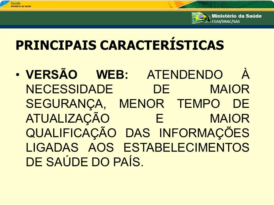 PRINCIPAIS CARACTERÍSTICAS ACESSO AO SISTEMA USUÁRIO AUTENTICADO NO SISTEMA DO CARTÃO NACIONAL DE SAÚDE.
