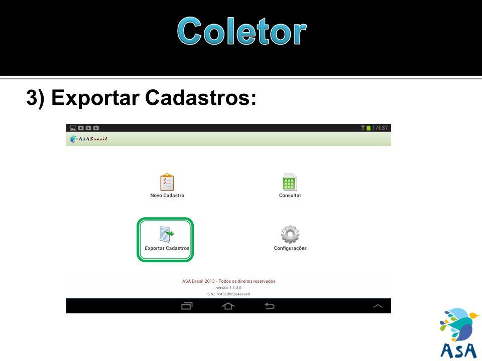 3) Exportar Cadastros: