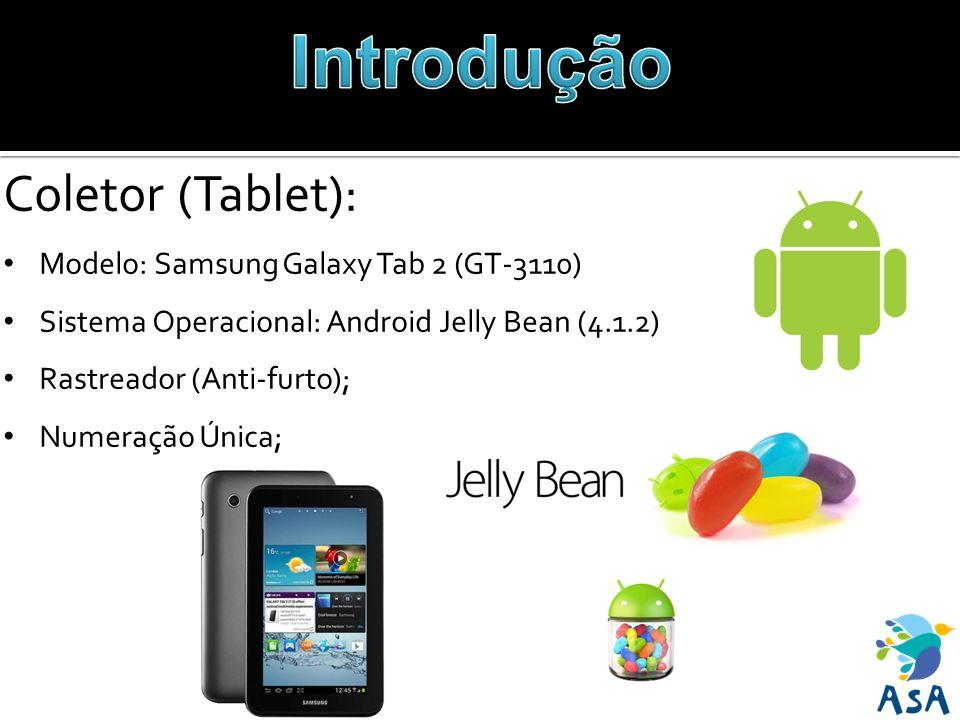 Coletor (Tablet): Modelo: Samsung Galaxy Tab 2 (GT-3110) Sistema Operacional: Android Jelly Bean (4.1.2) Rastreador (Anti-furto); Numeração Única;