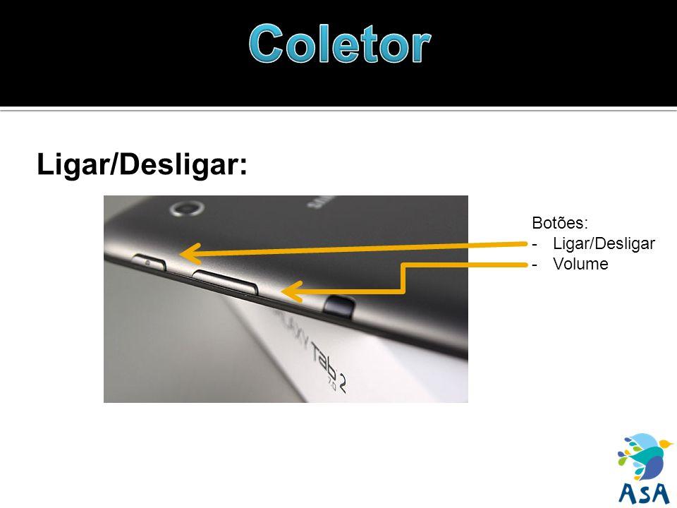 Ligar/Desligar: Botões: -Ligar/Desligar -Volume