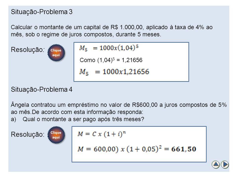 Situação-Problema 3 Calcular o montante de um capital de R$ 1.000,00, aplicado à taxa de 4% ao mês, sob o regime de juros compostos, durante 5 meses.