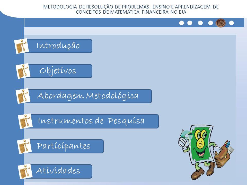 Introdução Objetivos Abordagem Metodológica Instrumentos de Pesquisa Participantes Atividades METODOLOGIA DE RESOLUÇÃO DE PROBLEMAS: ENSINO E APRENDIZ