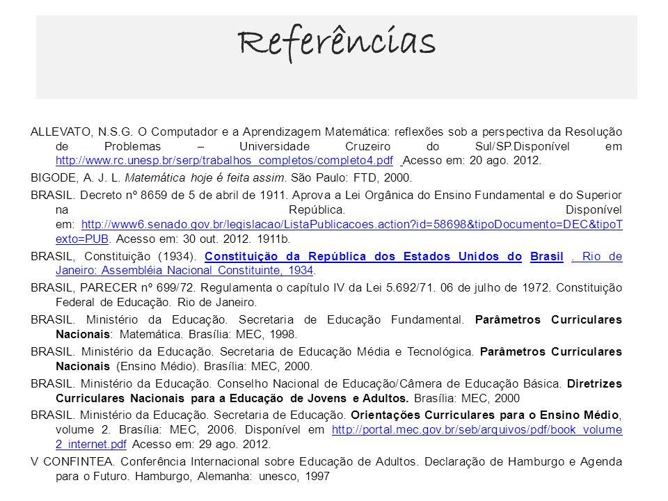 Referências ALLEVATO, N.S.G. O Computador e a Aprendizagem Matemática: reflexões sob a perspectiva da Resolução de Problemas – Universidade Cruzeiro d