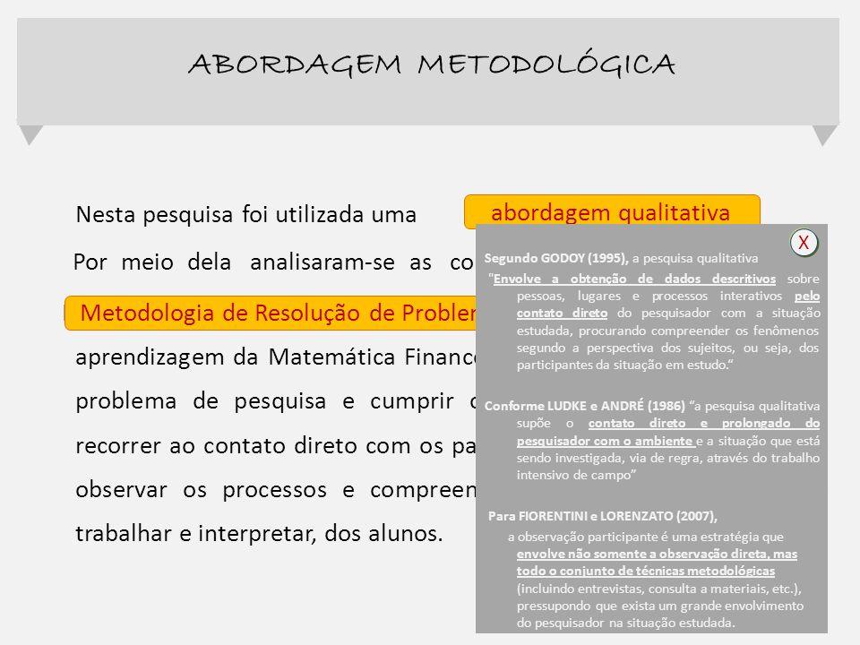 Nesta pesquisa foi utilizada uma Por meio dela analisaram-se as contribuições que a Metodologia de Resolução de Problema proporciona ao ensino e apren