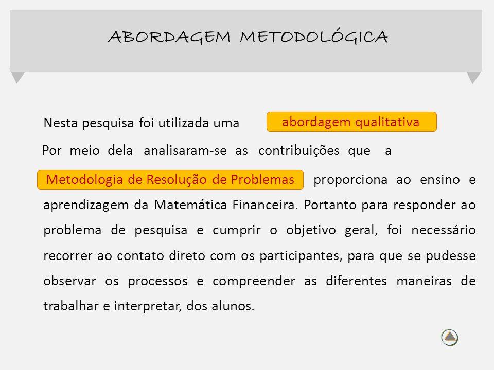 Nesta pesquisa foi utilizada uma Por meio dela analisaram-se as contribuições que a Metodologia de Resolução de Problem proporciona ao ensino e aprend