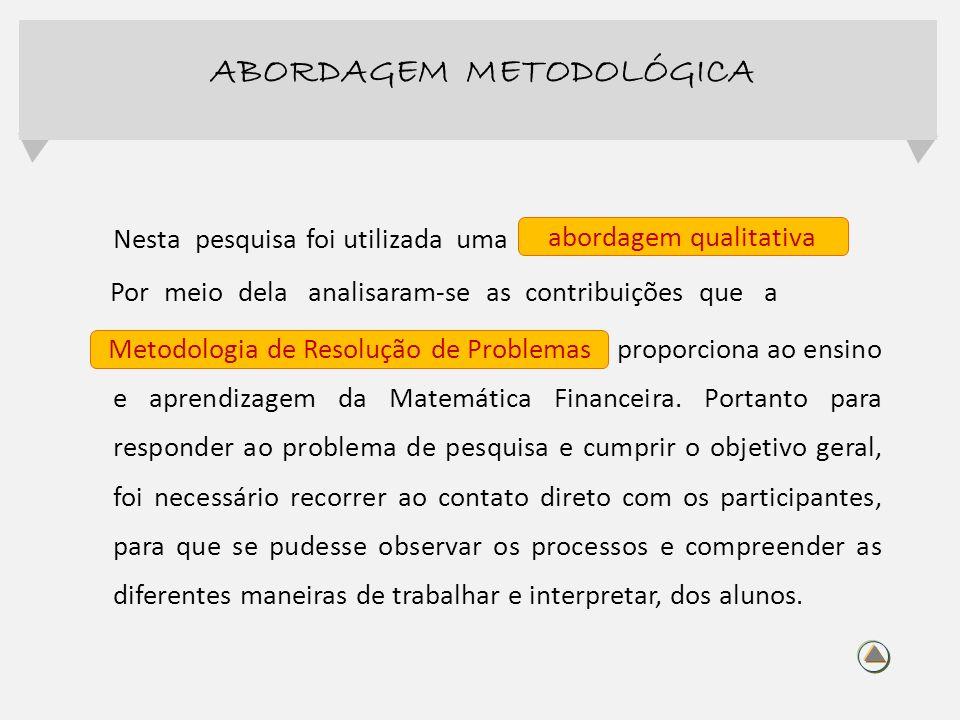 Nesta pesquisa foi utilizada uma abordagem qualitativa Por meio dela analisaram-se as contribuições que a Metodologia de aproporciona ao ensino e apre