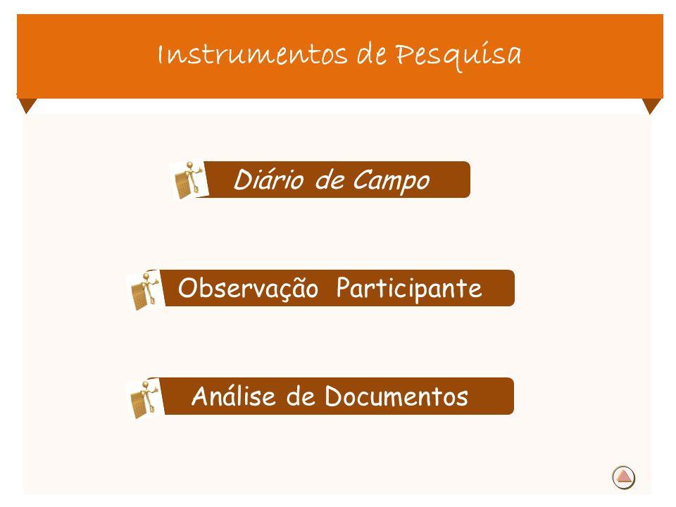 Instrumentos de Pesquisa Diário de Campo Observação Participante Análise de Documentos